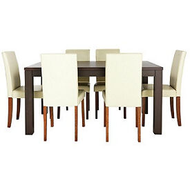 HOME Pemberton Dining Table & 6 Chairs -Walnut Effect Cream