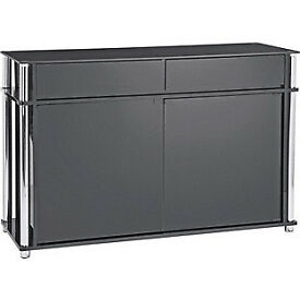 Hygena Matrix 2 Door 2 Drawer Large Sideboard - Black Glass