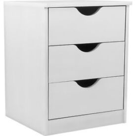 Pagnell 3 Drawer Bedside Chest - White