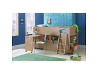 Qubrick Storage Midsleeper Bed Frame - Oak