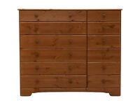 Fully assembled Nordic 6+6 Drawer Chest - Pine