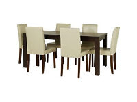 Fully assembled Penley Walnut Stain Extendable Dining Table & 6 Cream Chairs