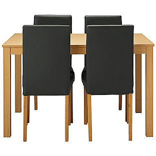 New Elmdon Oak Stain Dining Table & 4 Black Chairs.