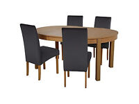 Collection Massey Wood Effect Extendable Table and 4 Chairs Black