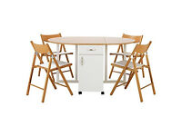 Willow Two Tone Folding Dining Table & 4 Folding Chairs