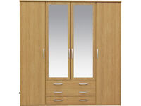 New Hallingford 4 Dr 3 Drw Mirrored Wardrobe - Oak Effect