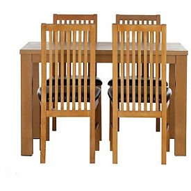 Pemberton Oak Effect Dining Table-4 Black Paris Chairs.
