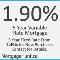 1.90% or 2.49% Mortgage Promotion 5 Year Variable Rate