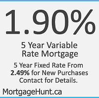 1.90% or 2.49% Mortgage Promotion 5 Year Rate