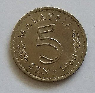Malaysia Currency Coin of 5 Sen of Year 1968 - A NICE & FINE Coin