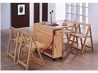 Solid wood butterfly folding space saving dining table & chairs