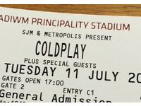 Coldplay Standing / GA Ticket, Cardiff - 11th July