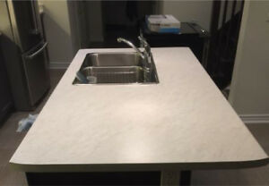 Laminate countertops for kitchen island with double sink/ faucet