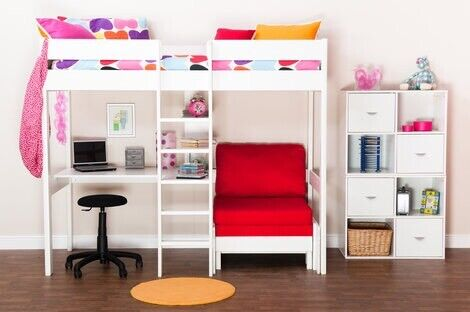 White Stompa Uno High Sleeper Bed With Desk Futon