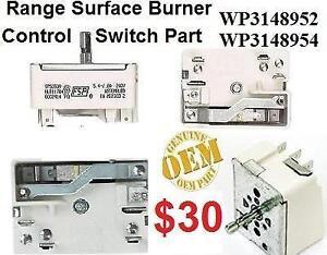 WP3148952 WP3148954 Surface Burner Single Control Switch WERE3000PB4 Whirlpool