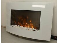 brand new 2017 LED FLAMES 7 COLOUR WHITE GLASS TRUFLAME CURVED WALL MOUNTED ELECTRIC FIRE