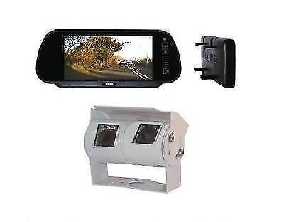 MOTORHOME TWIN CAMERA REAR VIEW REVERSING KIT WITH MIRROR MONITOR WITH 15M LOOM