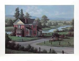 """Riverside"" limited edition print brick house beside river"