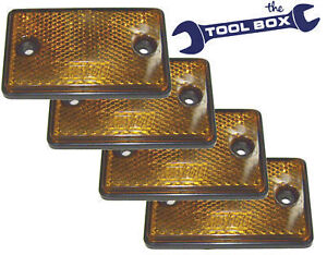 Trailer Reflectors 4 x Amber Side Relectors E approved
