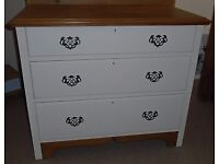 Hand-painted satin wood chest of drawers.
