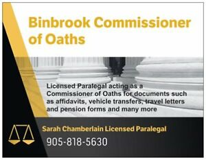 Commissioner of Oaths (Binbrook and surrounding areas)