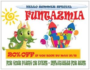"""HELLO SUMMER"" SPECIAL - 20% OFF INFLATABLE RENTAL"