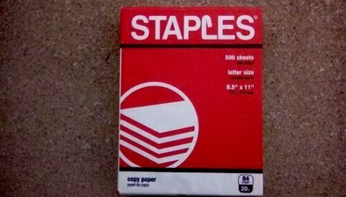 STAPLES PRINTER COPY PAPER 8 1/2 x 11 INCH 1 REAM 500 SHEETS 84 BRIGHT 20 LB