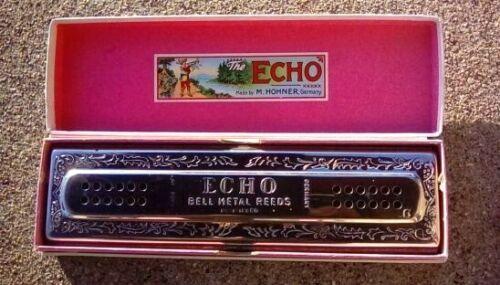 RARE M.HONER HARMONICA THE ECHO HARP, BELL METAL REEDS, REGISTERED 120 HOLES