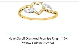10k Gold Diamond Heart Scroll Ring