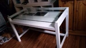 Desk with class top and full drawer under it