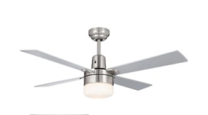 NOMA Loen Ceiling Fan with Remote features a brush nickel finish