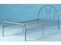EX DEMO. 3ft single size silver finish Metal bed frame, bedstead