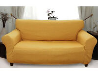 sofa cover (3 seater) - yellow/gold