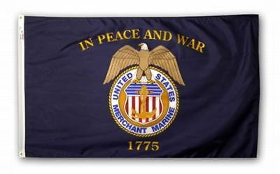 United States MERCHANT MARINE In Peace And War 1775 Official Flag 3x5 USA Made