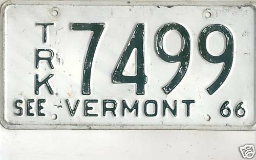 1966 VERMONT~7499~TRUCK LICENSE PLATE<>TAG