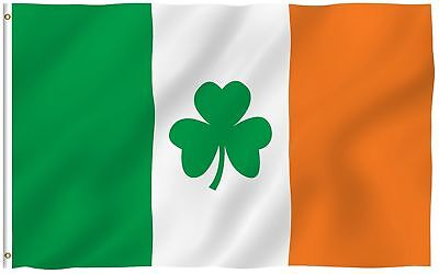 3X5 Ireland Irish Shamrock St. Patricks Day Flag Banner Clover Leaf FAST US SHIP