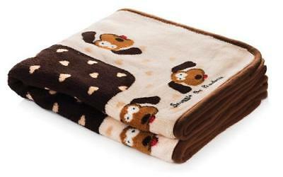 """NEW Cream and Brown Heart Snuggle Dog Blanket for Pets 48"""" x 30"""" by SmartPetLove"""