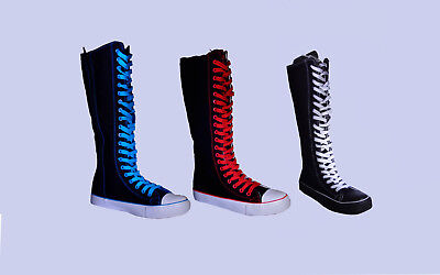 Womens Canvas Sneaker Punk Flat Tall Mid Calf Lace Up Knee High -