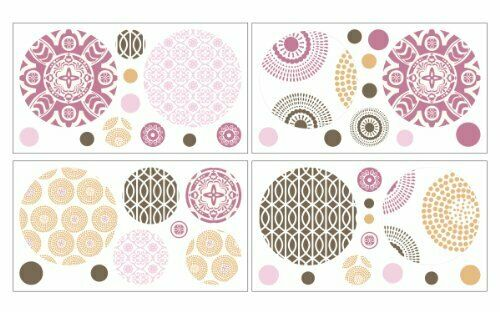"""COCALO REMOVABLE WALL APPLIQUES - 4 SHEETS 10"""" X 18"""" IRIS COLLECTION ROOM GIRLS"""