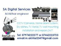 Sky Satellite dish TV Aerial & TV wall mounting CCTV cameras installation and repairs 24/7 same day