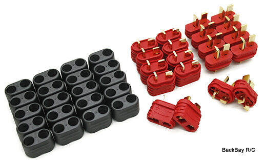 10 Male / Female New Style T-Plug (Deans Style) Connectors - No Heat Shrink