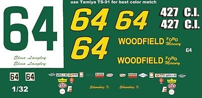 #64 ELMO LANGLEY Woodfield Ford 1/32nd Scale Slot Car Waterslide Decals