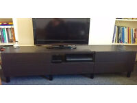 Dark Wood Stylish Ikea Media Console/TV Stand With 5 Drawers & Open Hutch For Equipment