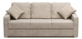 AS NEW 8FT LONG SOFA BED SETTEE , PERFECT FOR CARAVAN OR LIVING ROOM, TEXTURED GREY/BEIGE FABRIC