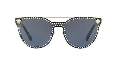 NWT Versace Sunglasses VE 2177 1252/87 Pale Gold Black / Grey 45 mm 125287 NIB