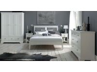 Hampstead White Slatted Bedstead - Double Bed