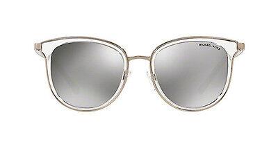 NWT MICHAEL KORS Sunglasses MK 1010 11026G Clear Silver / Silver Mirror 54mm NIB