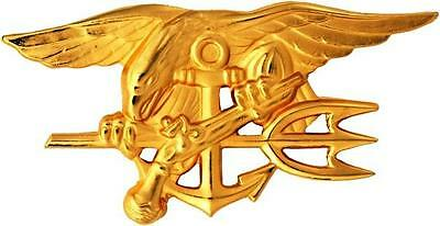 """US Navy Seal Team Trident Gold Large Lapel Pin Full Size Badge 2-3/4"""""""
