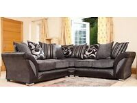 FREE DELIVERY ! BRAND NEW- SHANNON CORNER SOFA 3 AND 2 SEATER IN GREY AND BROWN COLOUR