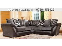 Chenille Fabric 5 Seater Corner Sofa Suite, 3+2 Settee available in Black Grey Brown Beige